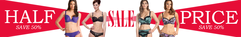 belle lingerie save 50% red sale banner