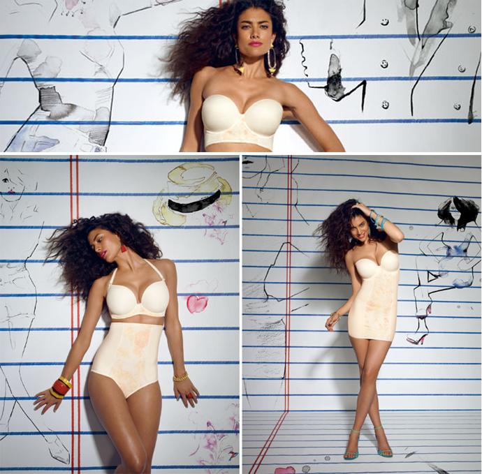 freya deco shapewear ivory bra, body, brief