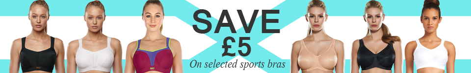 save £5 on selected sports bras at belle lingerie banner