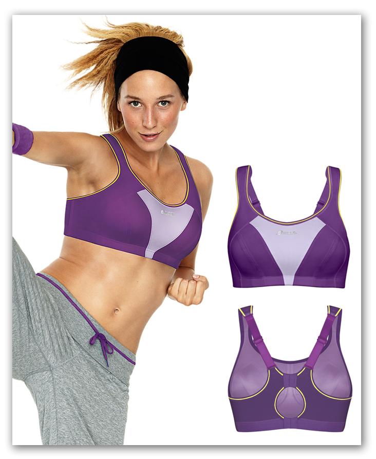 women high kicking in shock absorber purple bra
