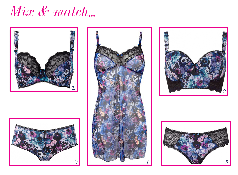 freya pansy midnight/floral mix and match
