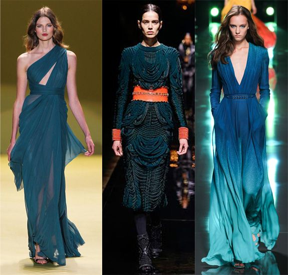 collection of teal garments from fashion week 2014