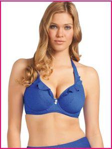 model wears Freya cherish cobalt blue halter-neck bikini top