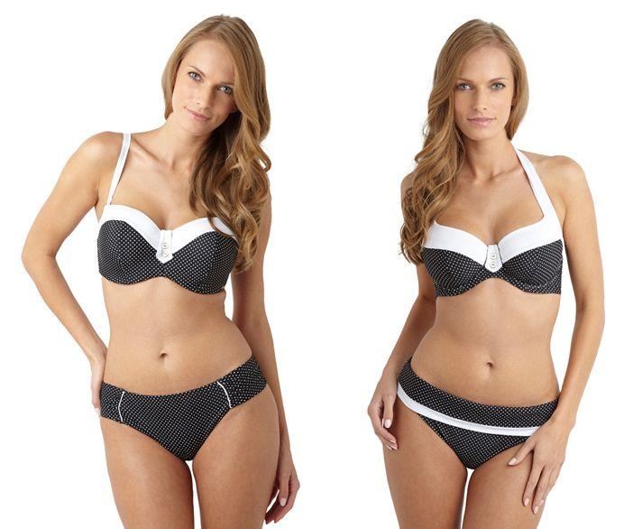 model wears Panache britt black swimwear
