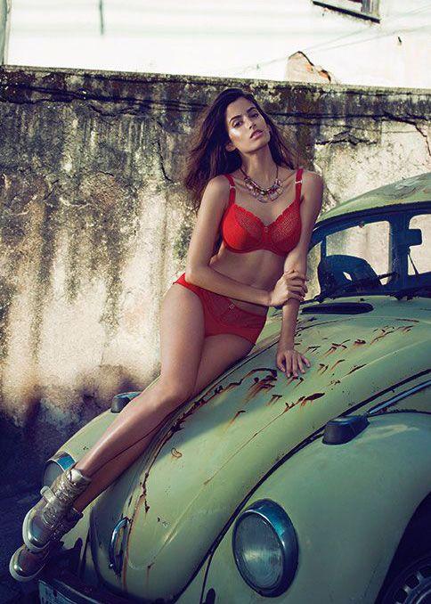 model wears freya rio bra and short in crimson red