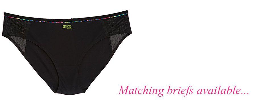 Panache black geo print briefs to match sports bra