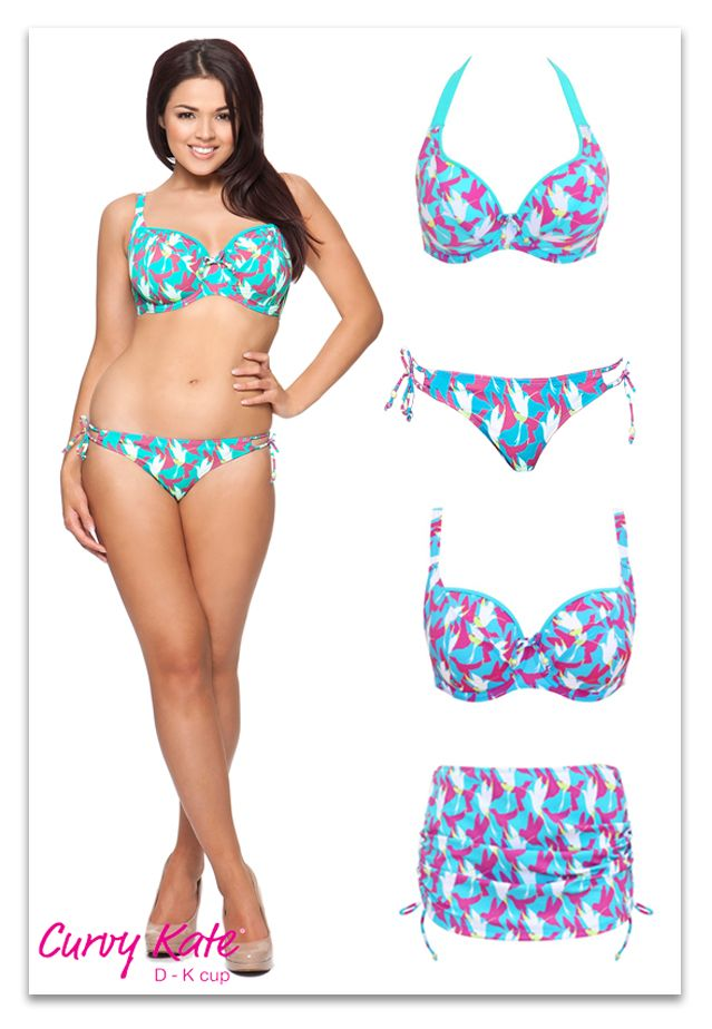 curvy kate birds of paradise swimwear aqua print