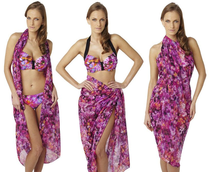 SW0785 Panache Savannah Sarong Floral Print