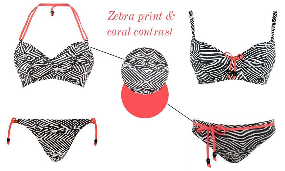 freya zulu zebra print coral swimwear bikini details