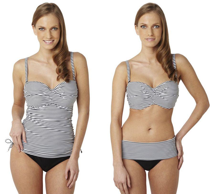 panache anya swimwear bikini black & white stripe