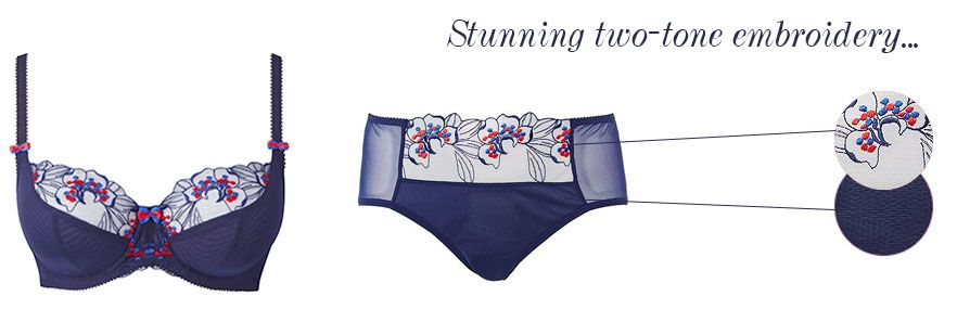 charnos lilly rose navy embroidery detailing