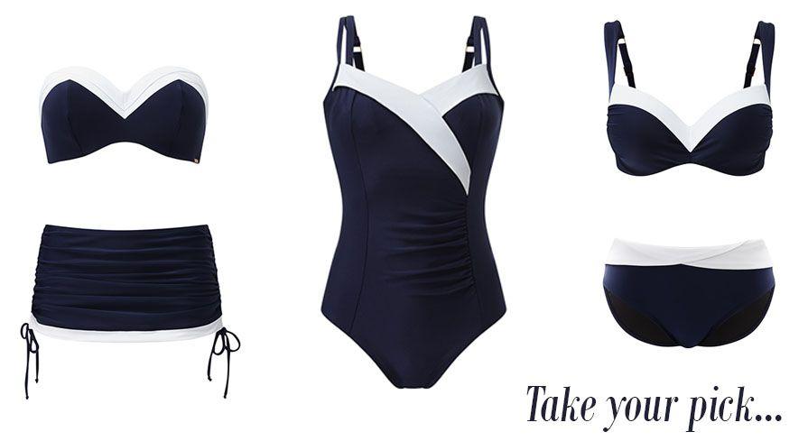 panache portofino navy white swimwear