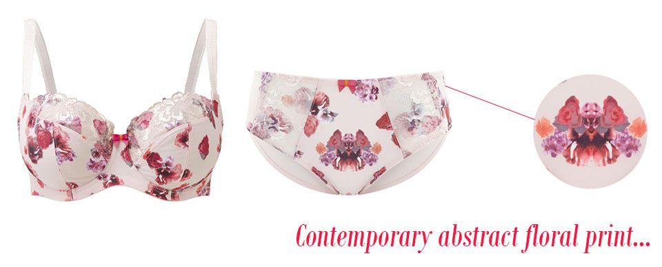 panache thea blush floral bra & brief floral detailing