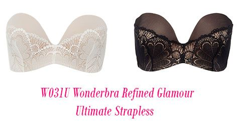 Wonderbra Lingerie Ultimate Strapless Lace Refined Glamour Bra W031U Ivory Black