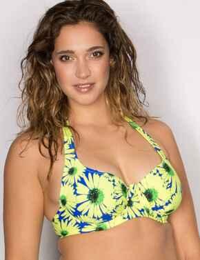 28002 Pour Moi? Crazy Daisy Underwired Bikini Top  - 28002 Blue/Yellow