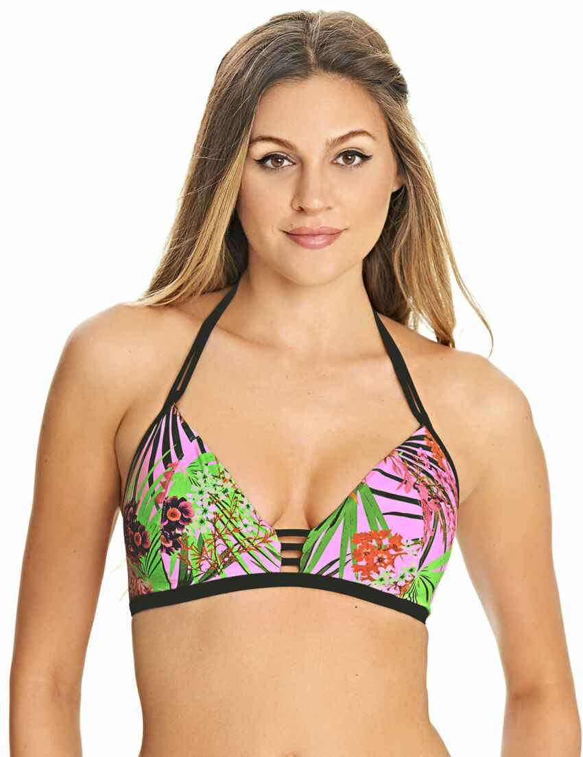 Freya Bikini Top Way Out West Size 34E Sunset Black Pink Neon Plunge Bra 4622