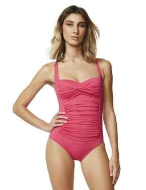 M4503TW Moontide Contours Twist Swimsuit - M4503TW Raspberry