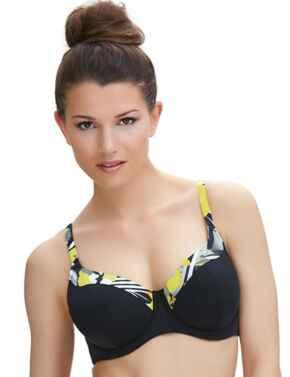 6195 Fantasie Beziers Padded Balcony Bikini Top Black  - 6195 Balcony Bikini Top