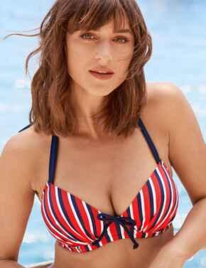 85000 Pour Moi Hamptons Underwired Padded Halterneck Bikini Top - 85000 Multi Stripe