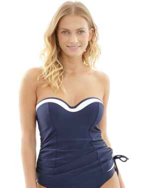 SW1091 Panache Anya Cruise  Moulded Bandeau Tankini Top - SW1091 Navy/White