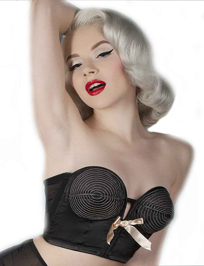 649386ed85 Save · BP034BP Playful Promises Bettie Page Overwire Longline Bra - BP034BP  Black Peach
