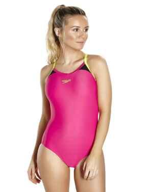 810837B772 Speedo Splice Thinstrap Racerback Swimsuit - 810837B772 Pink