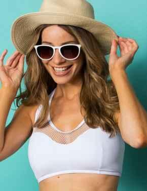 30007 Pour Moi Glamazon Half Halterneck Mesh Bikini Top - 30007 White