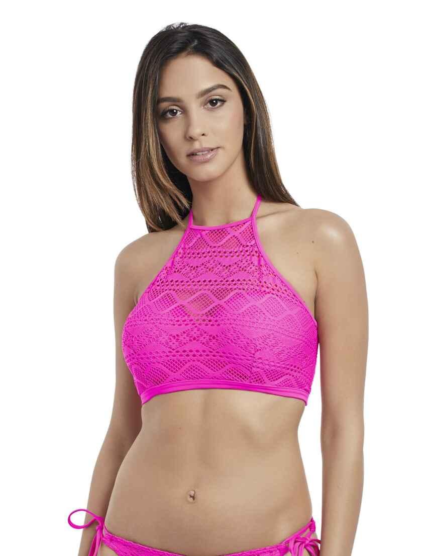 624e8004d349 Save · 3973 Freya Sundance High Neck Crop Bikini Top - 3973 Hot Pink