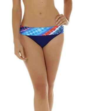 08-1350 SeaSpray Crete Fold Waist Bikini Brief - 08-1350 Blue/Orange
