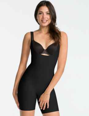 10021R Spanx Thinstincts Open-Bust Mid-Thigh Body - 10021R Black
