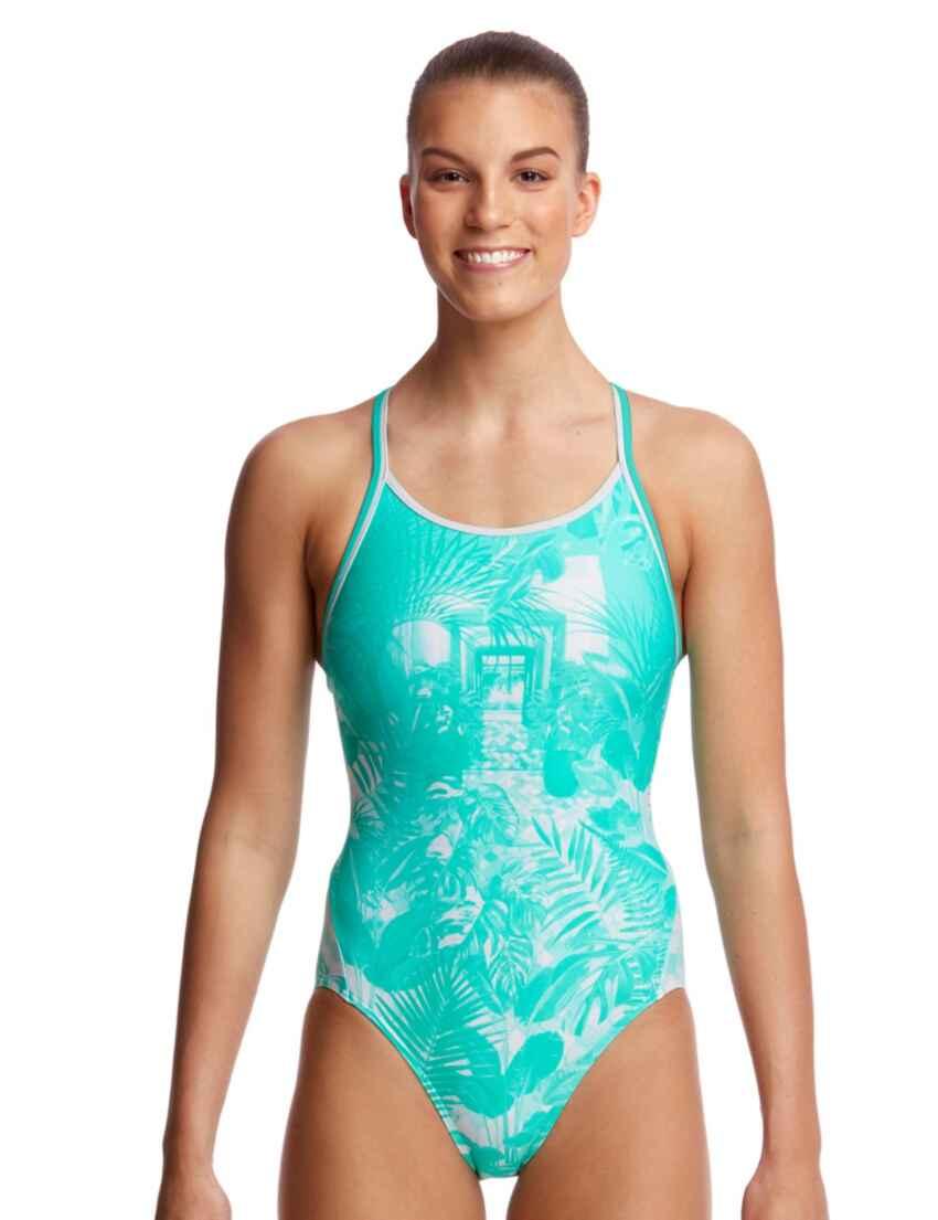 Funkita Diamond Back One Piece Swimsuit FS11L00469 Swimming Costume Solid Blue