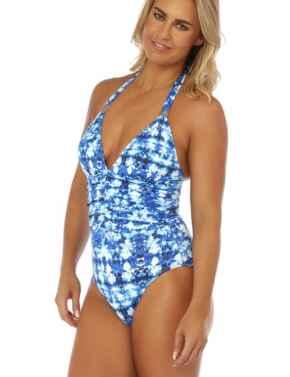 19-2857 SeaSpray Azurite Halter Neck Plunge Swimsuit - 19-2857 Blue
