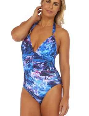 25-2857 Seaspray Ave Halterneck Plunge Swimsuit - 25-2857 Blue