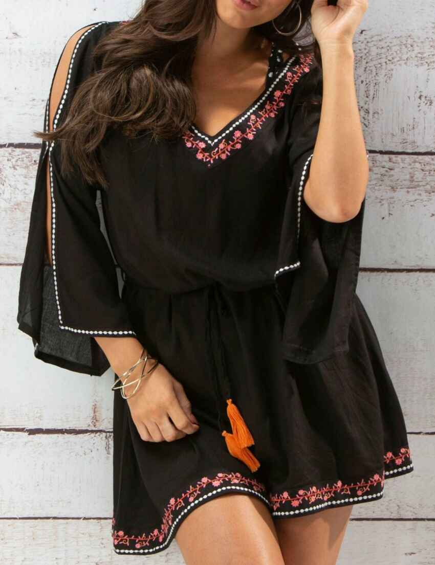 36097d12e7 13914 Pour Moi Hot Spots Ditsy Embroidered Cover Up Dress - 13914 Black