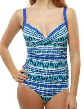 M4023TB Moontide Tribal Beat Underwired Wrap Swimsuit - M4023TB Electric Blue