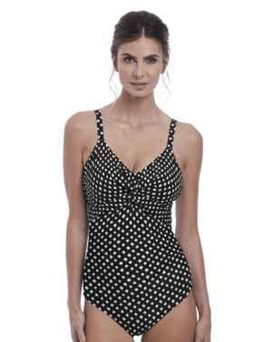 6728 Fantasie Santa Monica Underwired Twist Front Control Swimsuit - 6728 Black/White