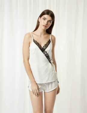 40308 Bluebella Angelica Cami And Shorts Set - 40308 Cream/Black