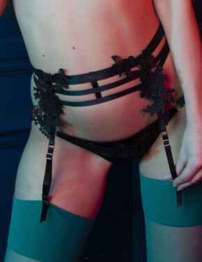 PPSB3151 Playful Promises Virginia Guipure Suspender Belt - PPSB3151 Black