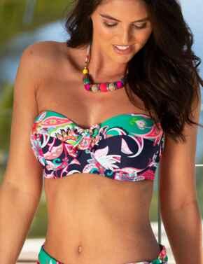 13400 Pour Moi Havana Strapless Padded Bikini Top - 13400 Navy/Green