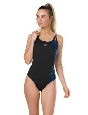 806187C810 Speedo Illusion Wave Placement Powerback Swimsuit - 806187C810 Black/Blue