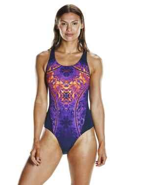 809015C210 Speedo Gemstone Flash Record Breaker Swimsuit - 809015C210 Navy/Purple