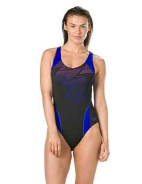 811690C747 Speedo Boom Placement Raceback Swimsuit - 811690C747 Black/Blue