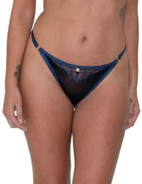 ST009200 Scantilly by Curvy Kate Submission Thong - ST009200 Black/Blue