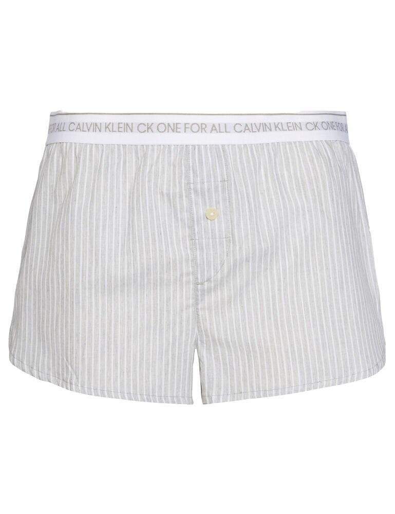 000QS6437E Calvin Klein CK One Wovens Cotton Sleep Short - QS6437E Cozy Stripe Vertical Grey Heather