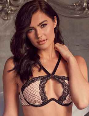 WWL778 Wolf & Whistle Danica Fishnet and Lace Crossover Bra - WWL778 Peach/Black