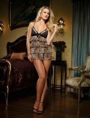 7861 Dreamgirl Babydoll and Thong  - 7861 Leopard