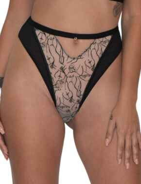 Scantilly by Curvy Kate Sex Education High Waist Thong in Black/Latte