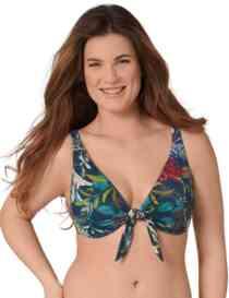 Triumph Botanical Leaf Plunge Bikini Top Blue- Dark Combination