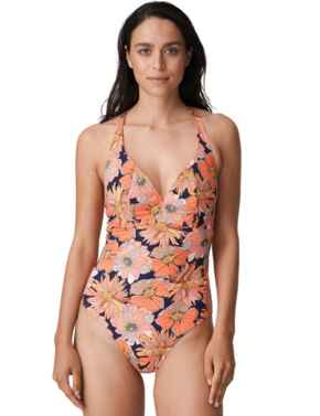Prima Donna Swim Melanesia Plunge Swimsuit Coral Flower