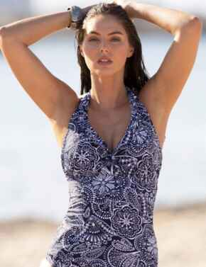 3907 Pour Moi Hot Spots Underwired Tankini Top - 3907 Navy Scandi